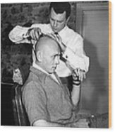 Yul Brynner Getting Shaved By Makeup Wood Print