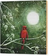 Yuletide Cardinal Wood Print