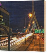 Zakim Bridge At Night Wood Print by Joann Vitali