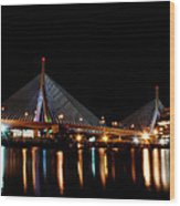 Zakim Over The Charles River Wood Print by Richard Bramante