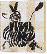 Zebra In Flight Wood Print