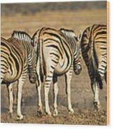 Zebras Three Wood Print