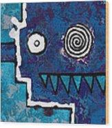 Zeeko - Blue And Aqua Wood Print