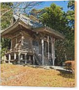 Zen Building In A Garden At A Sunny Morning Wood Print