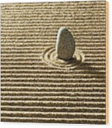 Zen Stone On Sand Wood Print