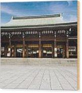 Zen Temple Under Blue Sky  Wood Print