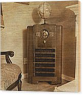 Zenith Consol Radio 1940's  Wood Print