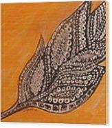 Zentangle Leaf Wood Print