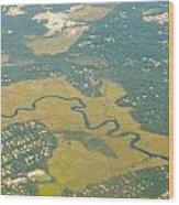 Zig Zag River Wood Print