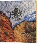 Zion Lone Tree Wood Print