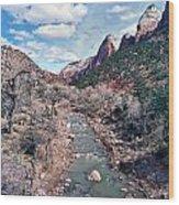 Zion Virgin River In Winter Wood Print