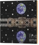 Zipper And Planets Wood Print