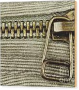 Zipper Detail Close Up Wood Print by Blink Images