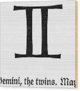 Zodiac: Gemini Wood Print