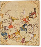 Zodiac Signs From Indian Manuscript Wood Print by Science Source