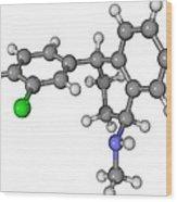Zoloft Antidepressant Drug Molecule Wood Print by Laguna Design