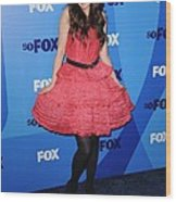 Zooey Deschanel At Arrivals For Fox Wood Print by Everett