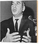 Zulfikar Bhutto At A 1965 Press Wood Print by Everett