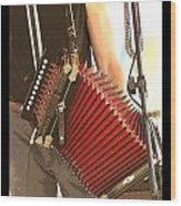 Zydeco Red Accordian Wood Print