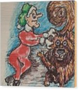 A Elf And Her Dog Wood Print