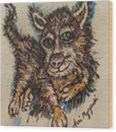 Blue Eyed Husky Wood Print