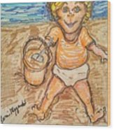 Playing In The Sand Wood Print