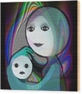 044 - Full Moon  Mother And Child   Wood Print