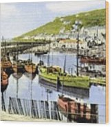 1900 Harbour View Mousehole Cornwall England Wood Print