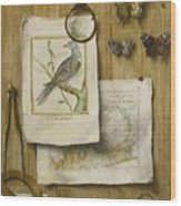 A Trompe L'oeil With Magnifying Glass Wood Print