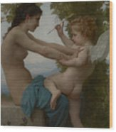 A Young Girl Defending Herself Against Eros Wood Print