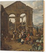 An Italianate Market Scene Wood Print