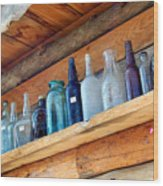 Antique Bottles Blues Wood Print