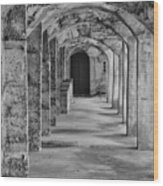 Archway At Moravian Pottery And Tile Works In Black And White Wood Print