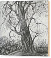 Autumn Dancing Tree Wood Print