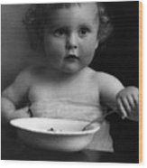 Baby Eating Cereal 1910s Black White Archive Boy Wood Print