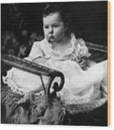 Baby In Chair 1910s Black White Archive Boy Kids Wood Print