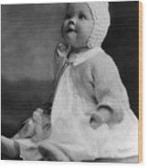 Baby Wearing Sweater Cap 1920s Black White Boy Wood Print