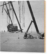 Beached Sailing Ship Circa 1900 Black White Wood Print
