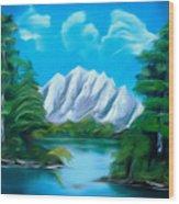 Blue Lake Mirror Reflection Dreamy Mirage Wood Print