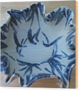 Blue Leafy Bowl Wood Print by Julia Van Dine
