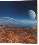 Blue Moon Over Patagonia Wood Print