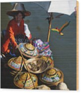 Boat Woman In Thailand Wood Print