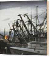 Boats With Sprays Of Light Wood Print