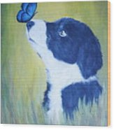Border Collie Wood Print