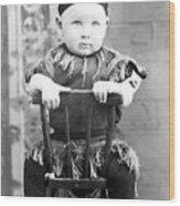 Boy Dressed Elf Sitting Backwards In Chair 1890s Wood Print