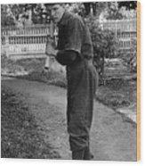Boy In Baseball Uniform Posing Bat Circa 1898 Wood Print