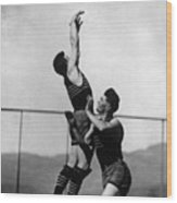 Boy Shooting Basketball 1910s Black White Ball Wood Print