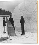 Boys Frozen Lake Parachute Sailboard Circa 1960 Wood Print