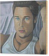 Brad Pitt Portrait Painting  Wood Print