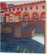Bridge On The Arno Wood Print